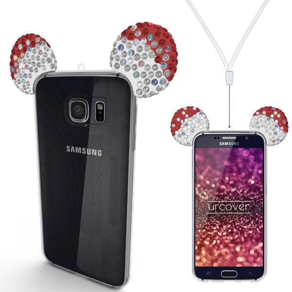 Samsung Galaxy S6 Urcover® TPU Maus Ohren Bling Ear Schutz Hülle Cover Glitzer