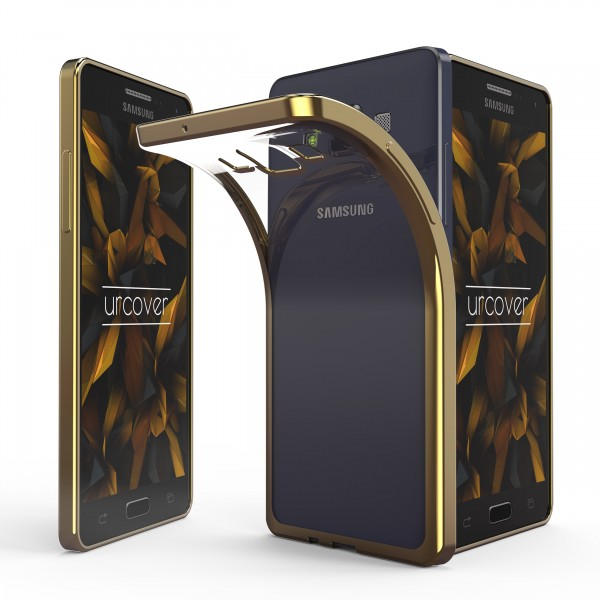 Samsung Galaxy A7 (2015) Hülle Spiegelrand klar Slim Cover Tasche Back Case Etui