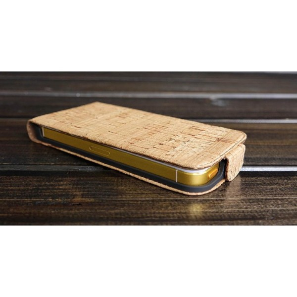 Urcover® Apple iPhone 5 / 5s / SE Kork Flip Schutz Hülle Case Cover Wallet Etui