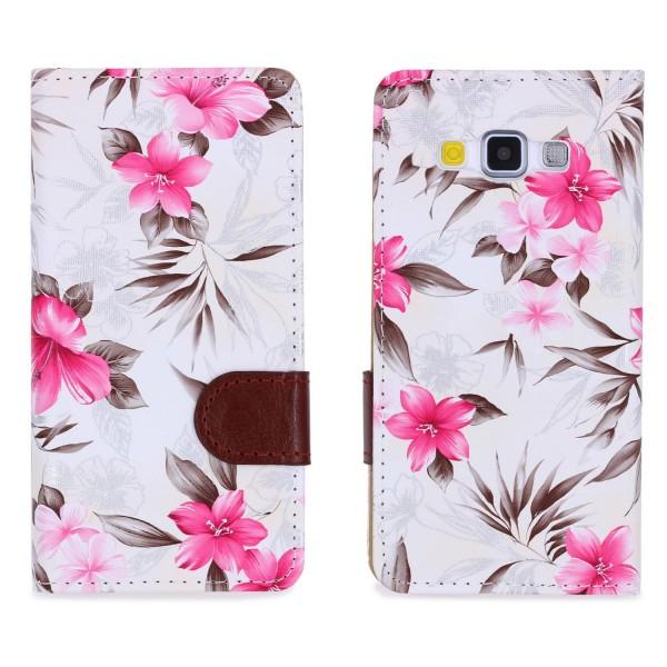 Urcover® Samsung Galaxy A7 (2015) Schutz Hülle Blumenmuster Kartenfächer Ständer