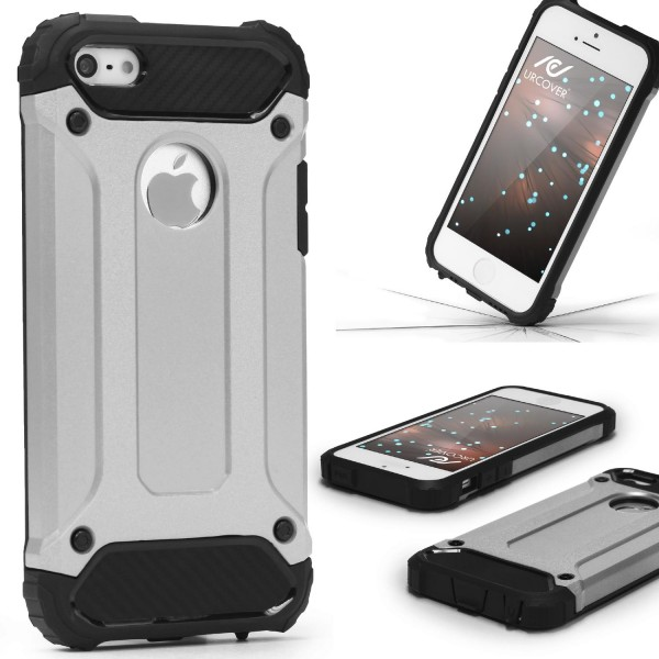 Apple iPhone 5 / 5s / SE OUTDOOR Schutz Hülle TOP Cover Back Case Carbon Optik