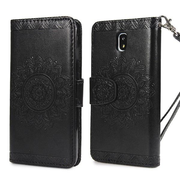 Urcover® Samsung Galaxy J7 (2017 Europa) Schutz Hülle Wallet Klapp Schale Lotus Pattern Case Cover