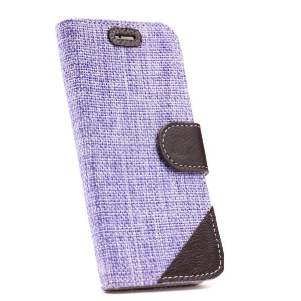 Urcover® Apple iPhone 6 Plus / 6s Plus Stoff Wallet Tasche Magnet & Ständer Etui