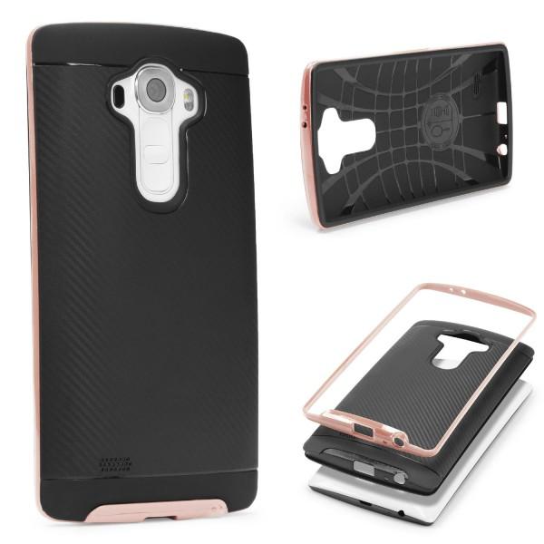 LG G4 Back Case Carbon Style Cover Dual Layer Schutzhülle TPU Schale Bumper
