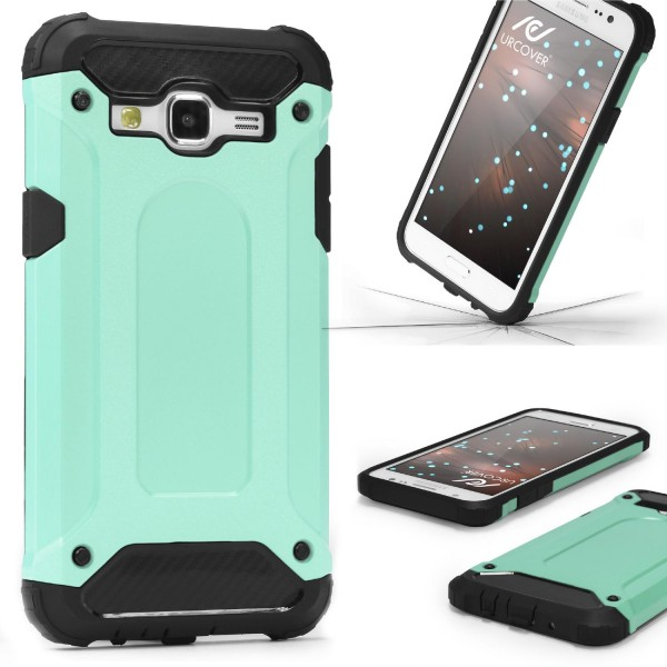 Samsung Galaxy J1 (2015) OUTDOOR Schutz Hülle TOP Cover Back Case Carbon Optik