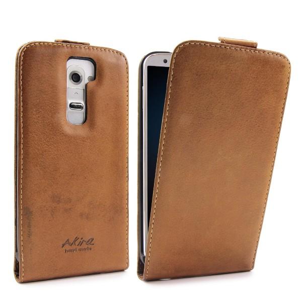 Akira LG G2 Handmade Echtleder Schutzhülle Flip Case Ledertasche Wallet Cover