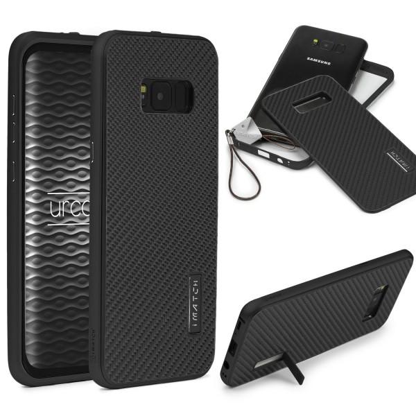 Samsung Galaxy S8 Echt Carbon Back Case Handy Schutz Hülle Bumper Alu Karbon