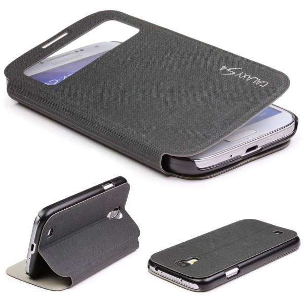 Samsung Galaxy S4 View Case Schutz Hülle Wallet Cover Etui Tasche Struktur Handy