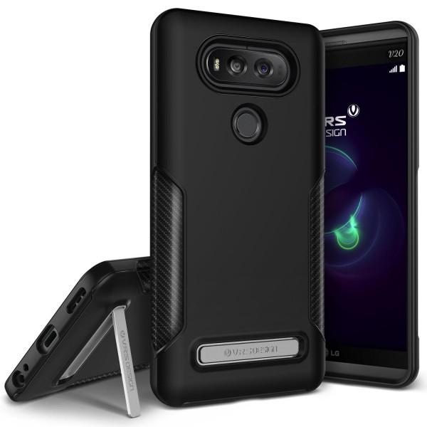 Urcover® LG V20 Handy-Hülle VRS Design Carbon TPU/Metal Back-Case Standfunktion