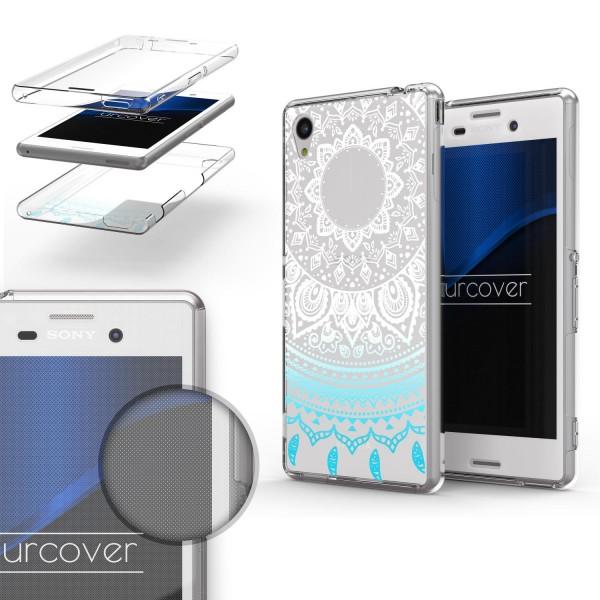 Sony Xperia M4 TPU 360° Grad Rundum Schutz Hülle Mandala Case Cover Schale Etui