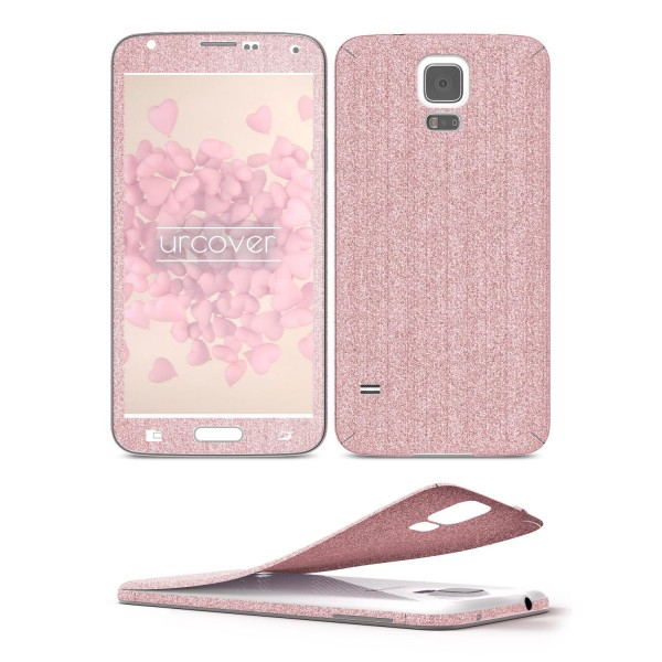 Samsung Galaxy S5 Mini Glitzer Folie Aufkleben Regenbogen Farbig Diamond Bling