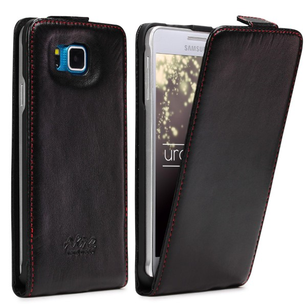 Akira Samsung Galaxy Alpha Handmade Echtleder Klapp Schutzhülle Flip Wallet Etui