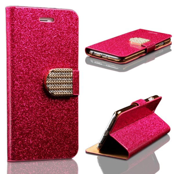 Apple iPhone 6 / 6s Strass Bling Diamant Flip Hülle Glitzer Wallet Case Cover