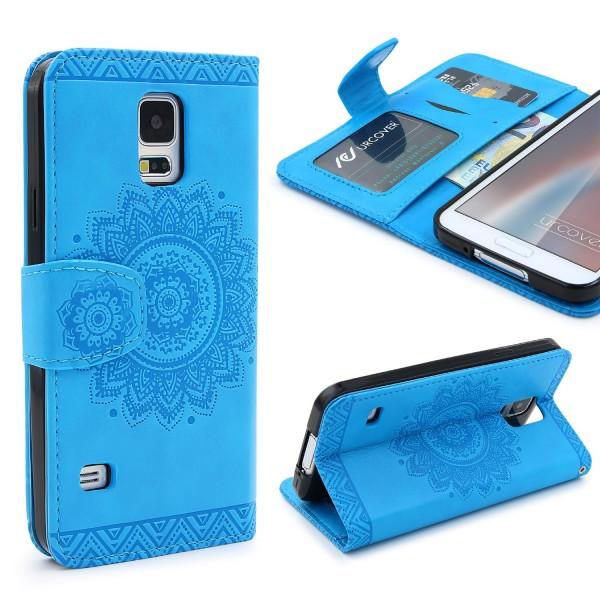 Samsung Galaxy S5 Wallet Klapp Schutz Hülle Stand Flip Case Cover Etui Schale