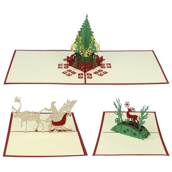 3D Pop Up Weihnachtskarten im Set