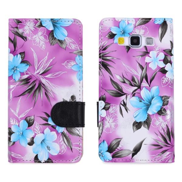 Urcover® Samsung Galaxy A5 (2015) Schutz Hülle Blumenmuster Kartenfächer Ständer