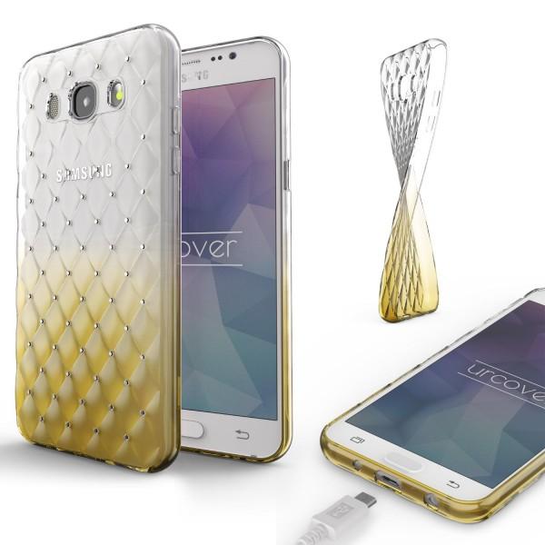 Samsung Galaxy J7 (2016) TPU Handyhülle Schutz Cover Glitzer Diamant Schale Case