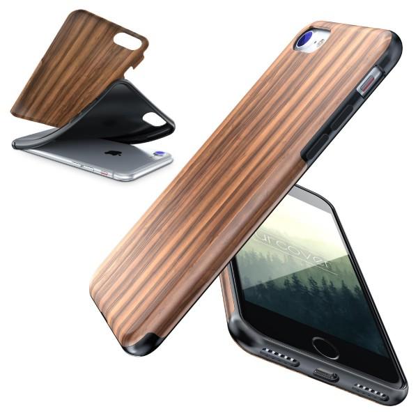 Apple iPhone 7 Wood Holz Optik Back Case Schutz Hülle Case Cover Etui Schale