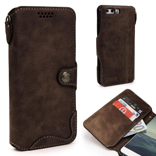Akira Huawei P10 Echt Leder Smartphone Hülle Cover Case Handy Tasche Schale Etui