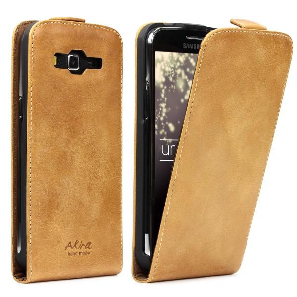 Akira Samsung Galaxy Duos 2 Handmade Echtleder Klapp Schutz Hülle Wallet Flip