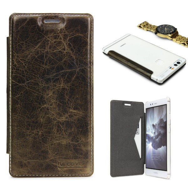 Huawei P9 Plus Echt Leder Schutz Hülle Case Cover klar Tasche Schale Etui Bumper