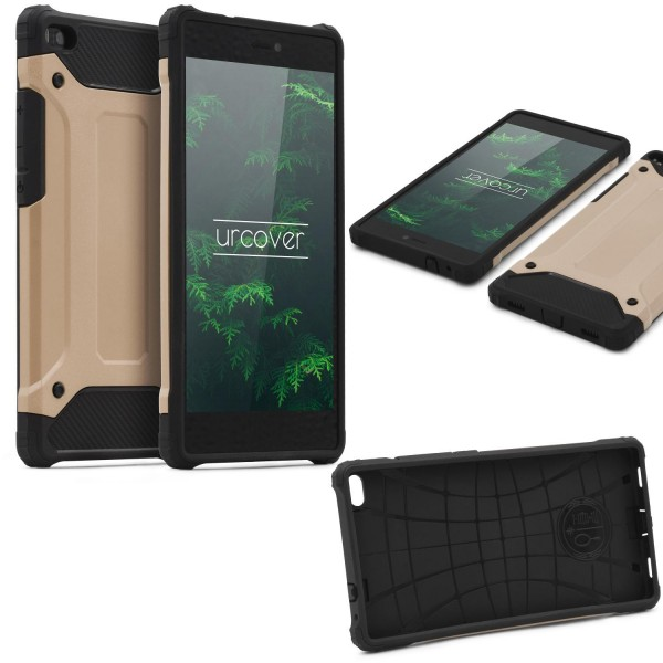 Huawei P8 OUTDOOR Schutz Hülle TOP Cover Backcase Carbon Optik Etui Schale
