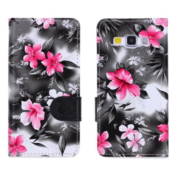 Urcover® Samsung Galaxy A3 (2015) Schutz Hülle Blumenmuster Kartenfächer Ständer