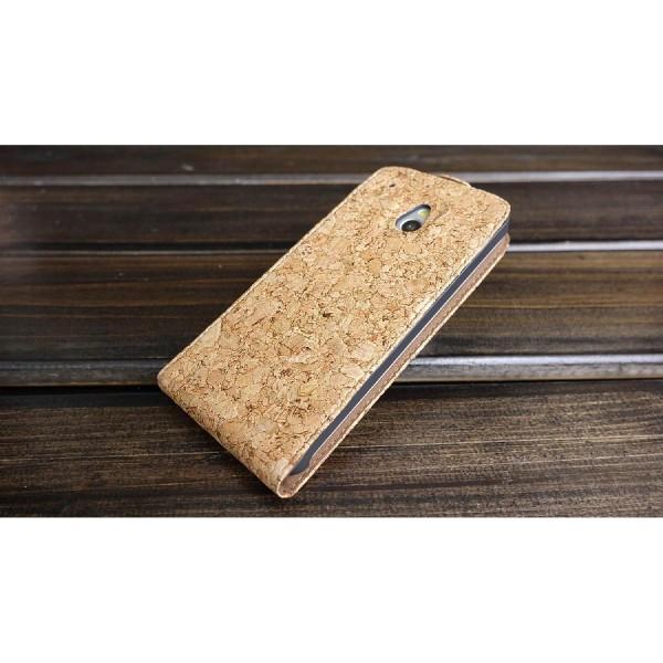 Urcover® HTC M7 Mini Kork Schutz Hülle Flip Wallet Case Cover Schale Etui Tasche