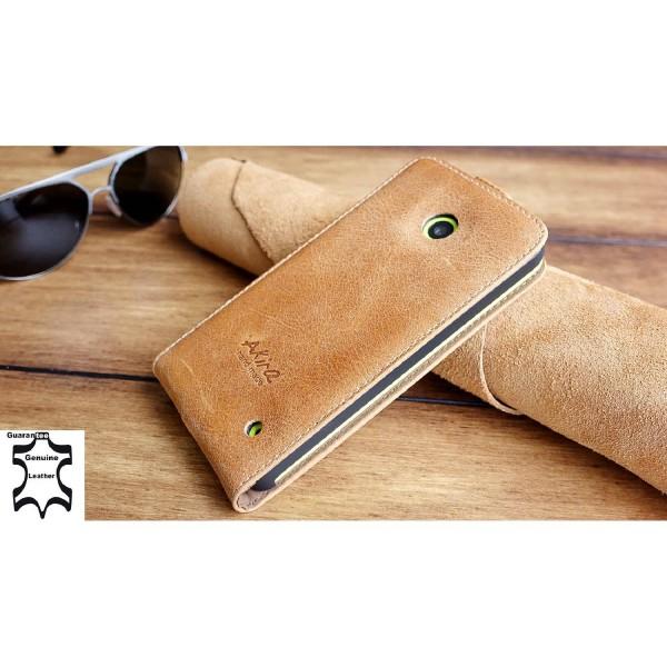 Akira Handmade Lumia 532 Echt Leder Handy Schutz Hülle Flip Cover Case Wallet
