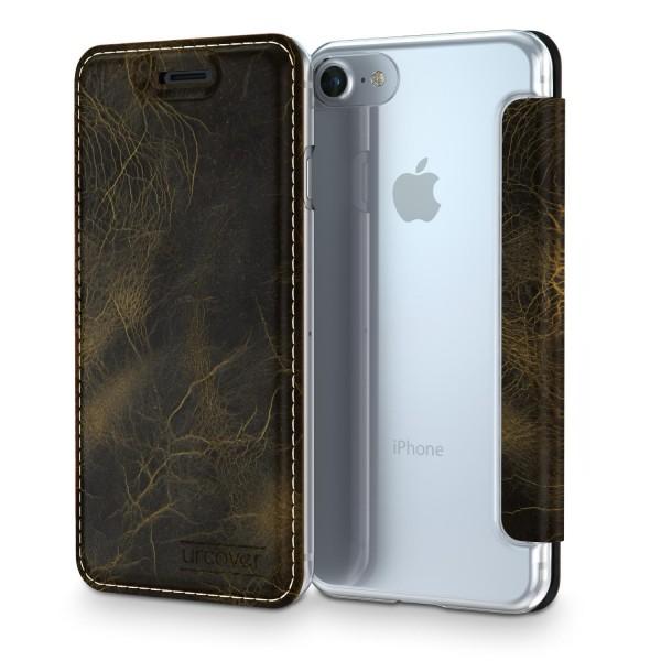 Apple iPhone 7 Urcover Echt Leder Wallet Handyhülle Bruchsicher Cover Kartenfach