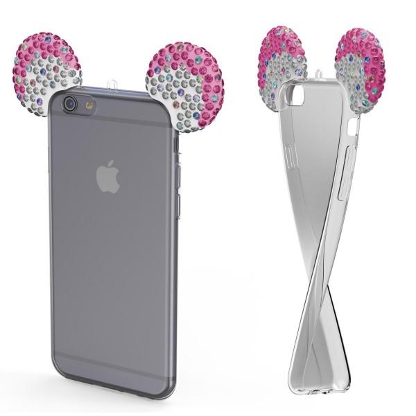 Apple iPhone 6 / 6s TPU Maus Ohren Bling Ear Edition Schutz Hülle Cover Glitzer