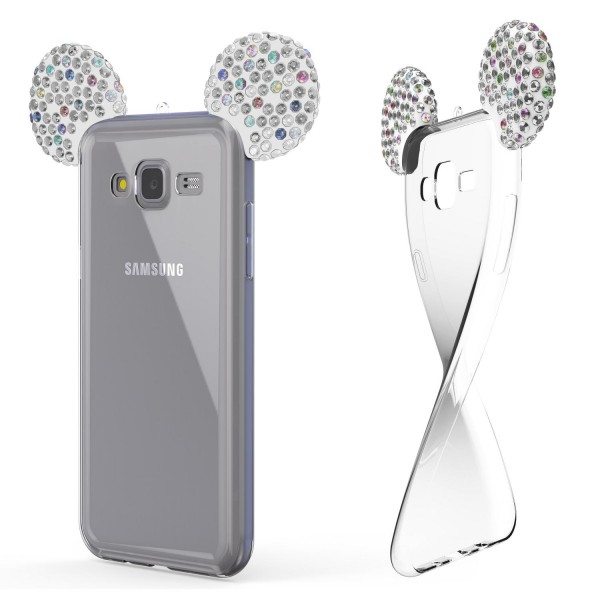 Samsung Galaxy J5 (2015) Maus Strass Ohren Bling Ear Schutz Hülle Glitzer Cover