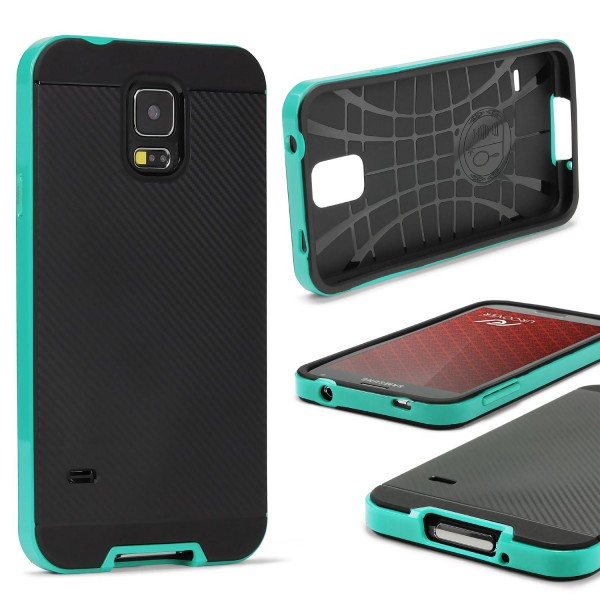 Samsung Galaxy S5 Mini Case Carbon Style Schutzhülle Cover Dual Layer TPU PC