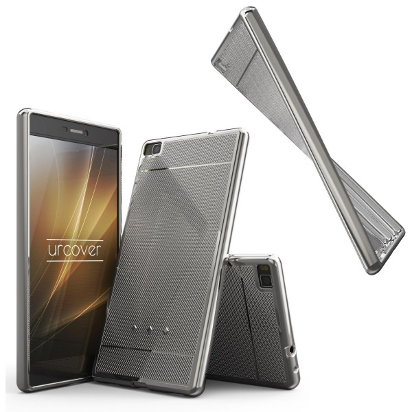 Urcover® Huawei P8 Schutz Hülle Metall Optik Silikon Soft Back Case