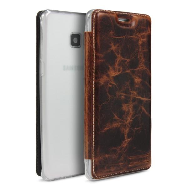 Samsung Galaxy Note 7 Echt Leder Schutz Hülle Case Cover klar Tasche Schale Etui