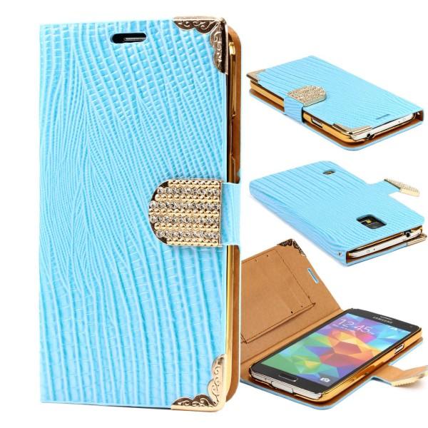 Urcover® Samsung Galaxy S5 Hülle Kartenfächer Flip Case Cover Wallet Crocodile