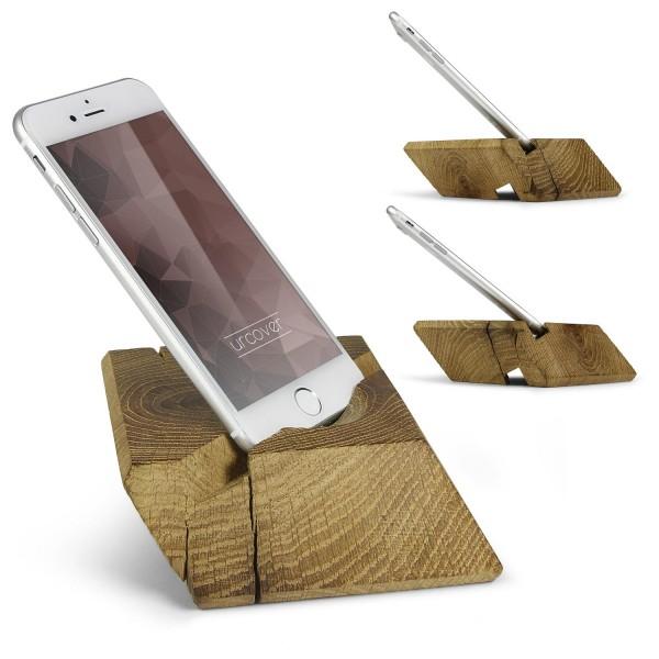 Woodkingz Universal Handy Handmade Smartphone Halter Halterung Echt Holz Ständer