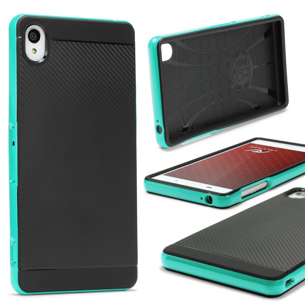 Sony Xperia Z3 Compact Case Carbon Style Schutzhülle Cover Dual Layer TPU PC