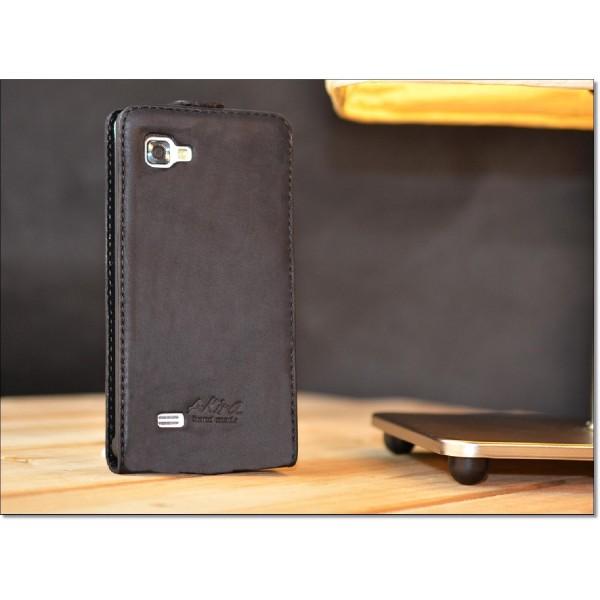 Original Akira Hand Made [Echt Leder] Handyhülle LG P 880 Cover Handgemacht Case Schutzhülle Etui Flip Wallet Pen [DEUTSCHER FACHHANDEL] Braun