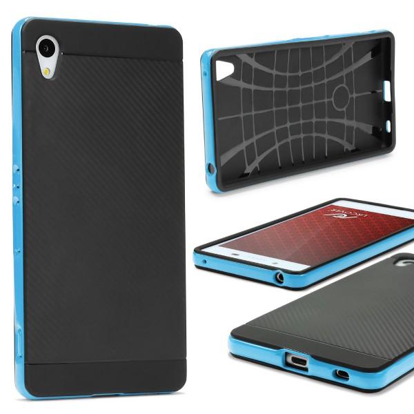 Sony Xperia Z4 Mini Back Case Carbon Style Cover Dual Layer Schutzhülle TPU