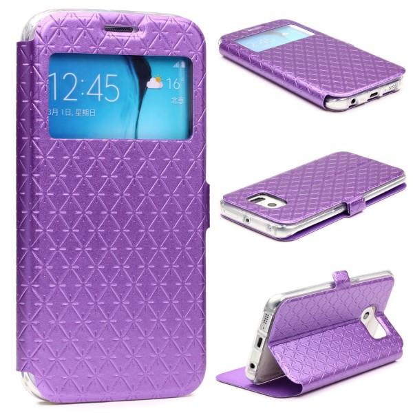 Samsung Galaxy S6 Edge Sichtfenster Wallet Handy Schutz Hülle View Cover Case