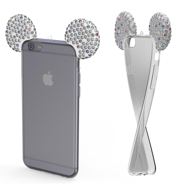 Apple iPhone 6 Plus 6s Plus TPU Maus Ohren Bling Ear Schutz Hülle Cover Glitzer