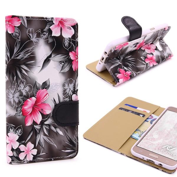 Urcover® Samsung Galaxy J3 (2016) Schutz Hülle Blumenmuster Kartenfächer Ständer