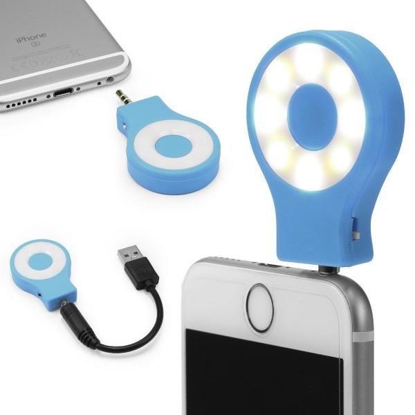 Urcover® Selfie LED Flash Light Kunststoff Lichtring Warmes Licht AUX Anschluss
