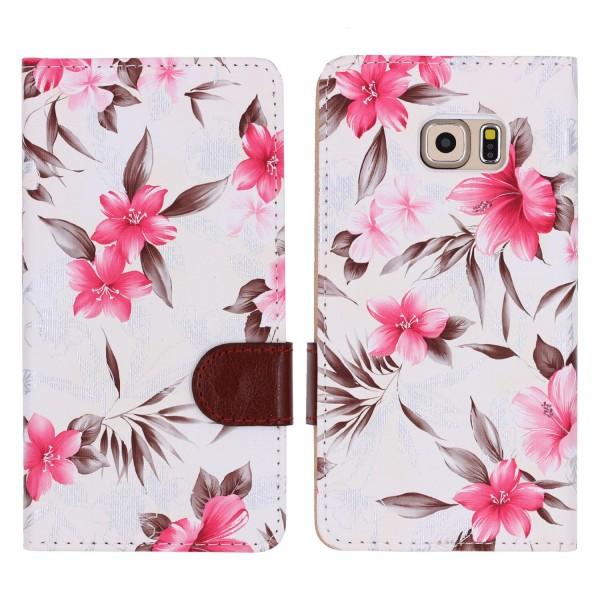 Urcover® Samsung Galaxy S6 Edge Plus Schutz Hülle Blumenmuster Kartenfächer Etui