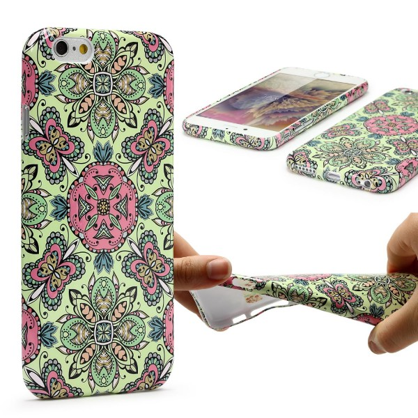 Urcover® Apple iPhone 6 / 6s Blumenmuster Schutzhülle TPU Felxibel Case Cover