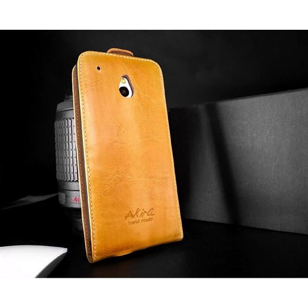 Akira HTC M7 Mini Handmade Echtleder Schutzhülle Ledertasche Wallet Flip Case