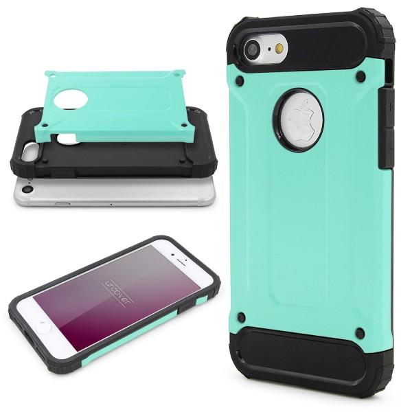 Apple iPhone 7 OUTDOOR Schutz Hülle TOP Cover Backcase Carbon Optik Etui Schale
