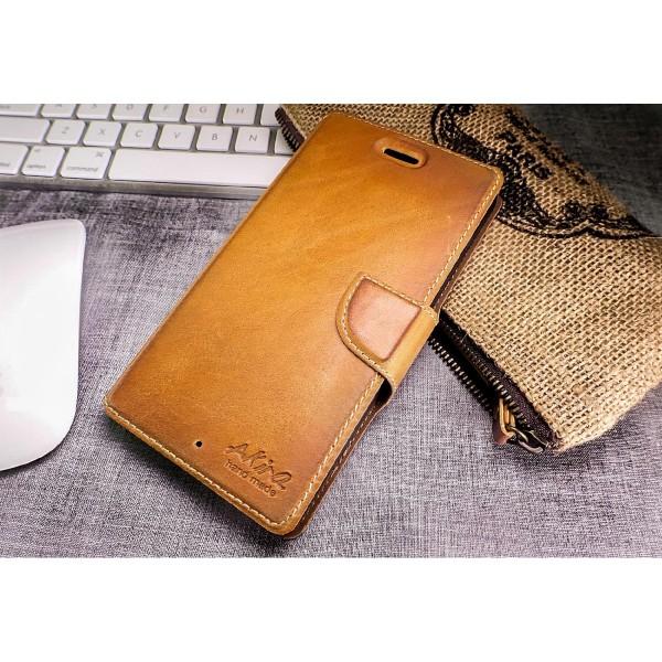 Akira Nokia Lumia 830 Handmade Echtleder Klapp Schutz Hülle Flip Cover Wallet