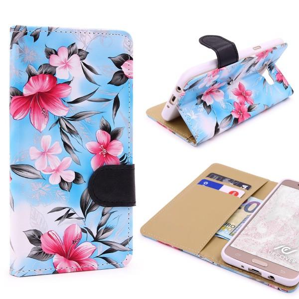 Samsung Galaxy J5 (2016) Blumen Muster Handy Schutz Hülle Case Schale Flip Etui